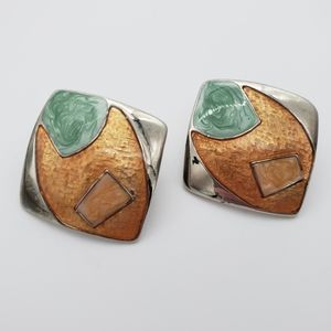 Vintage Enamel & Silver Tobe Square Earrings